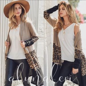 First Love Tan Black Leopard Kimono Cardigan
